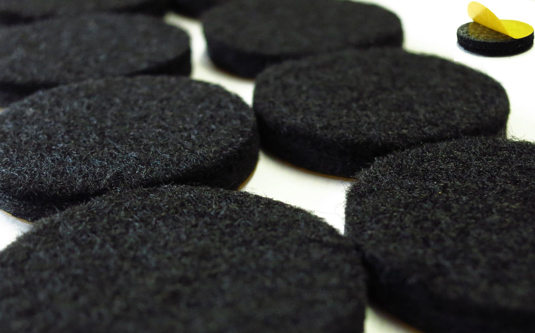 Filzgleiter rund Ø15mm bis 62mm, 6mm dick, selbstklebend | schwarz | Stuhlgleiter Möbelgleiter