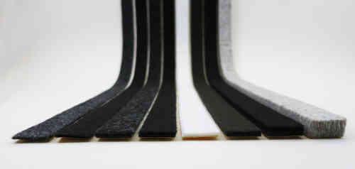 Filzstreifen / Filzband Meterware, selbstklebend, 3mm dick | schwarz, anthrazit, braun, weiß