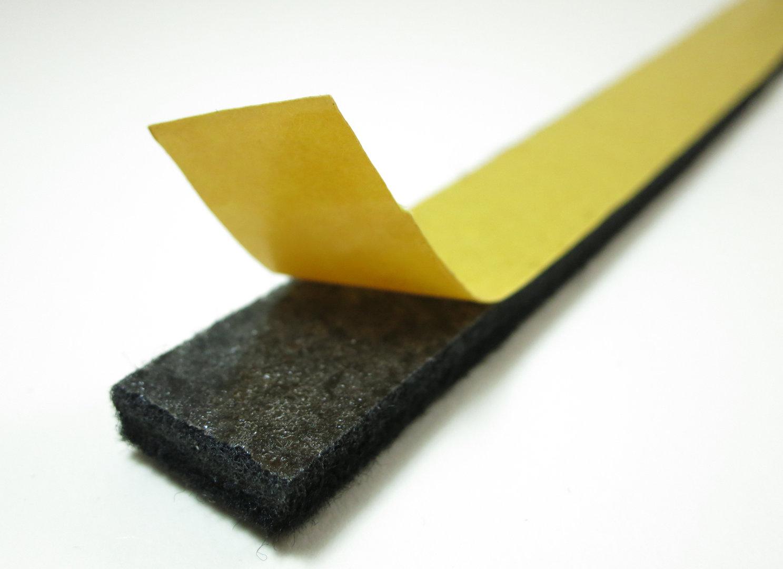Filzband Meterware, Filzstreifen selbstklebend, 6mm dick | schwarz
