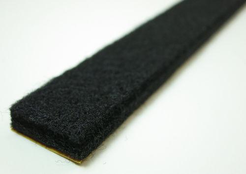 Filzband Meterware, Filzstreifen selbstklebend, 6mm dick   schwarz