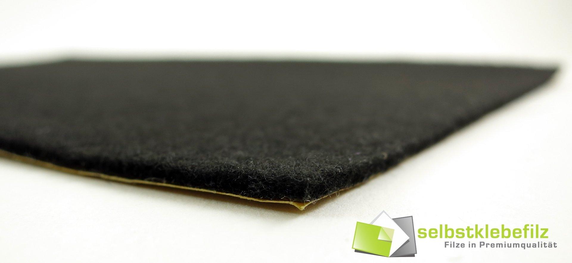 Filz Meterware 2mm dick | schwarz, anthrazit | Breite 150cm, stark selbstklebend