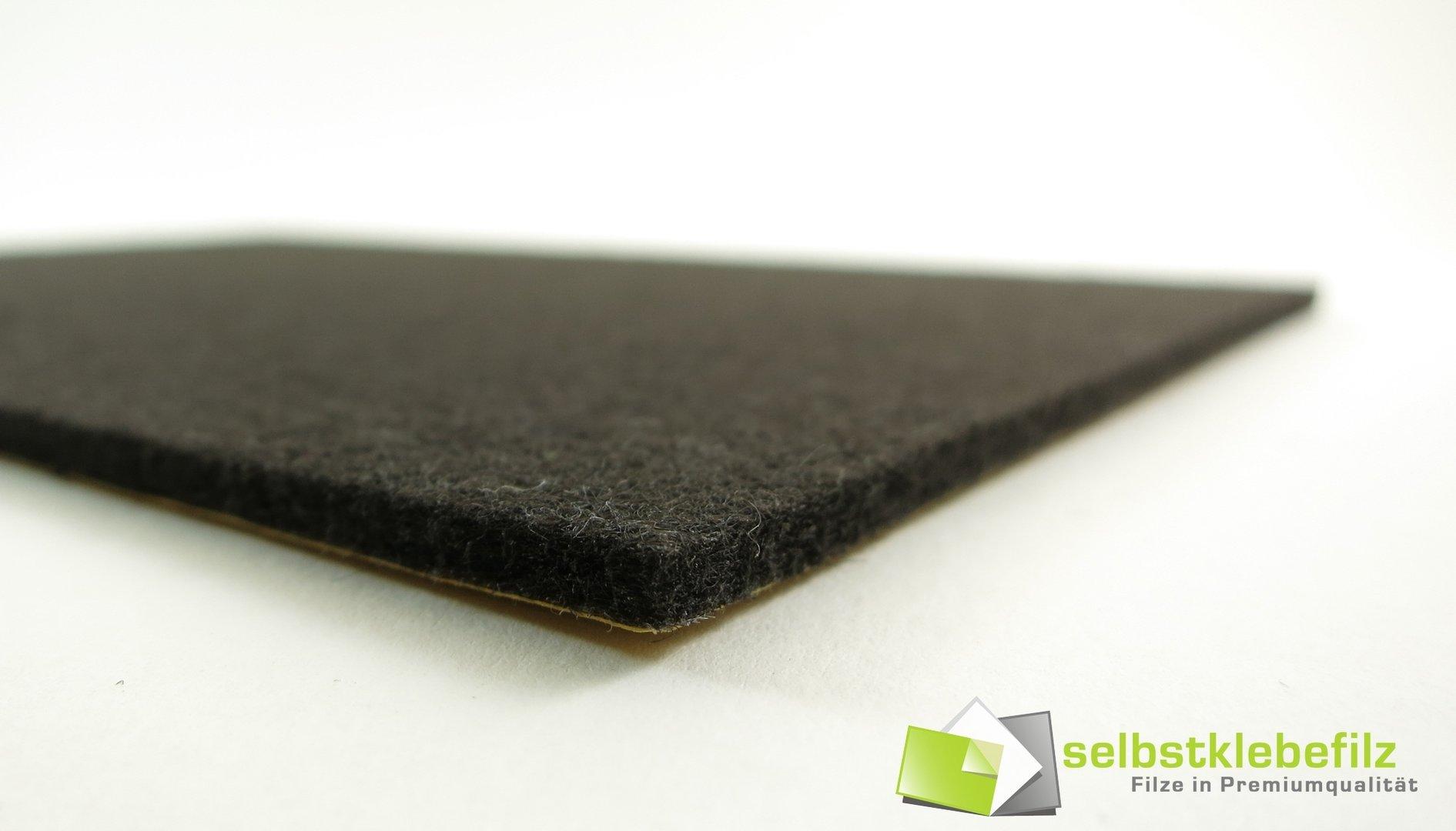 Filz Meterware 3mm dick | schwarz, anthrazit, braun, weiß | Breite 100cm, selbstklebend