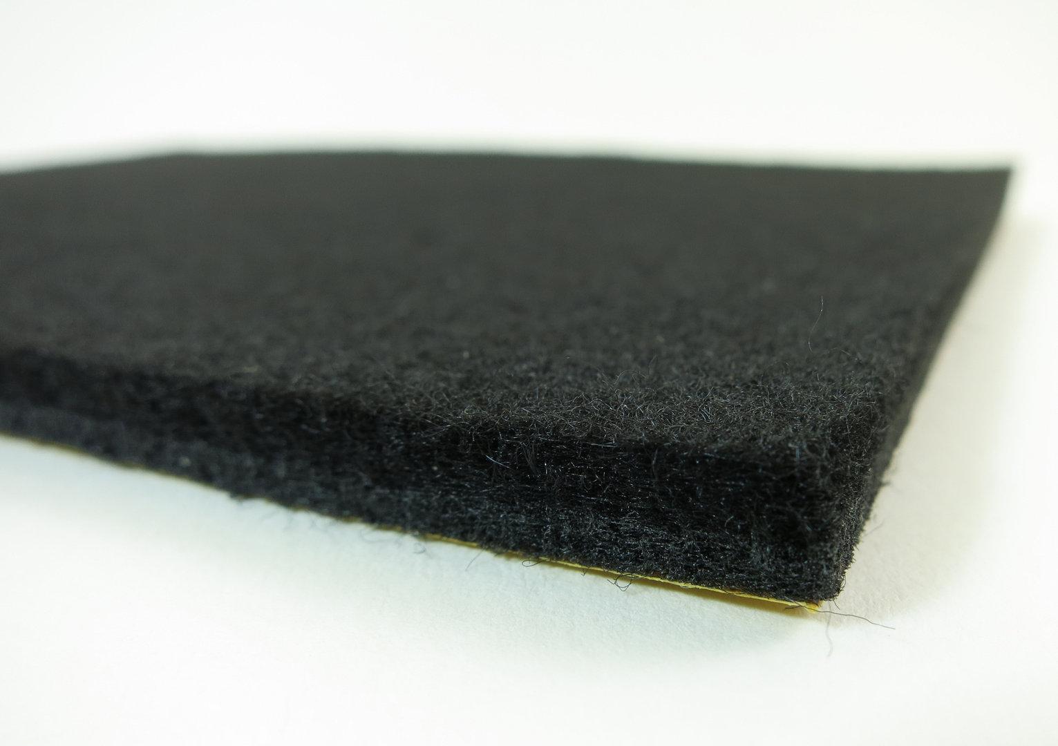 Filzgleiter Meterware 6mm dick | schwarz | Breite 100cm, selbstklebend