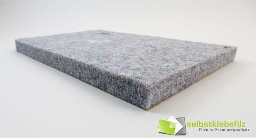 Filz Meterware 10mm dick | grau meliert | Breite 100cm, selbstklebend