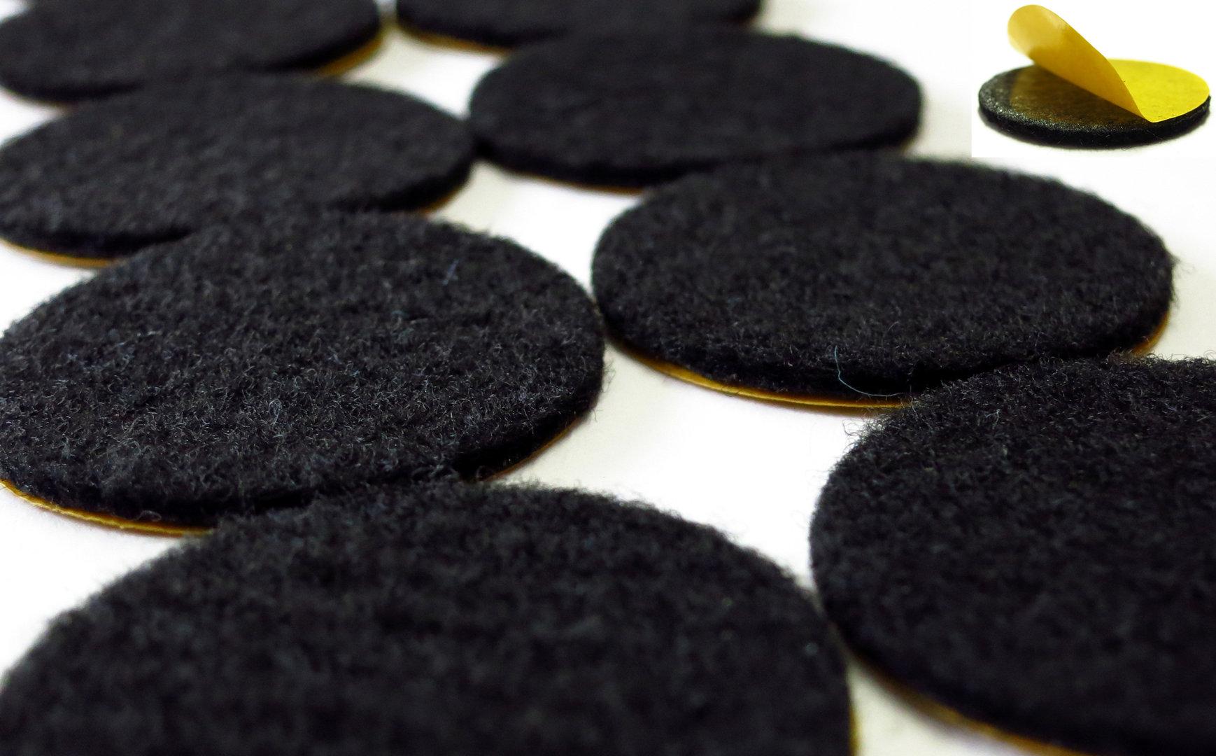 Filzgleiter rund Ø15mm bis 62mm, 2mm dick, selbstklebend   schwarz   Stuhlgleiter Möbelgleiter