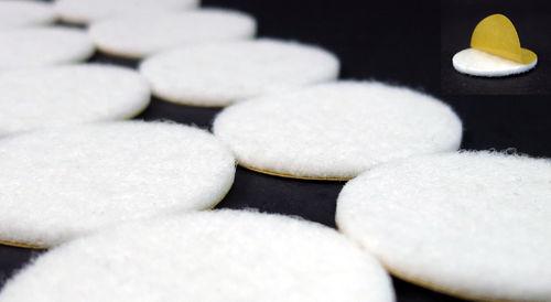 Filzgleiter rund Ø15mm bis 62mm, 2mm dick, selbstklebend | weiß | Stuhlgleiter Möbelgleiter