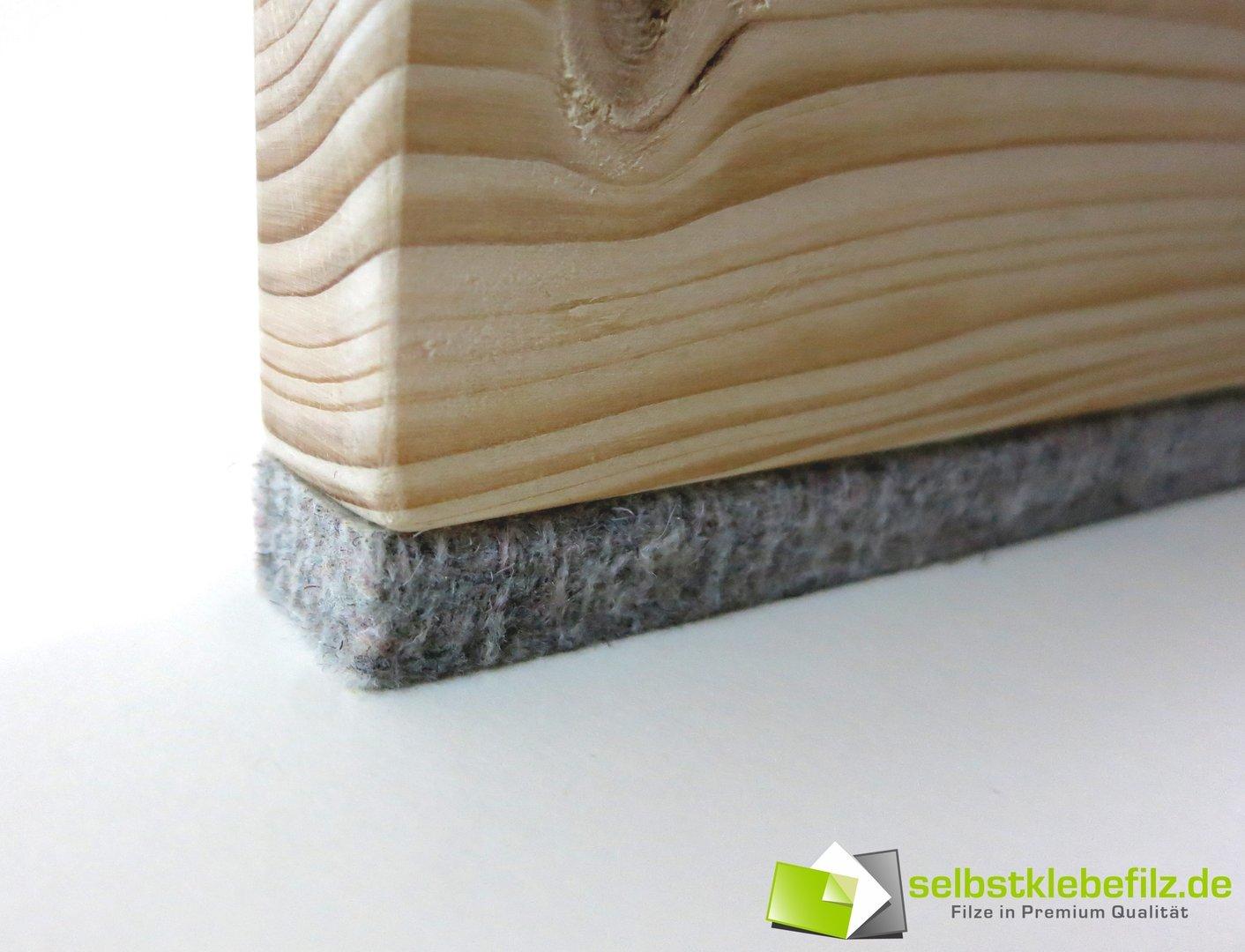 Filzstreifen / Filzband Meterware selbstklebend, 10mm dick   grau meliert
