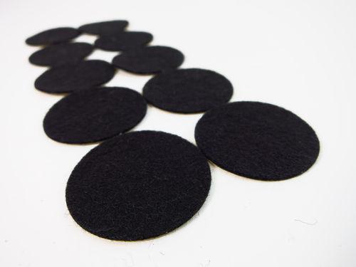 Filzgleiter rund 1mm dick, schwarz Ø15mm bis 62mm - selbstklebend